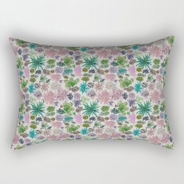 collection of succulents and their flowers Rectangular Pillow