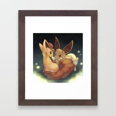 Eevee and Vulpix Framed Art Print
