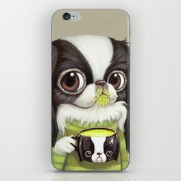 Japanese Chin Sips Matcha Latte iPhone Skin