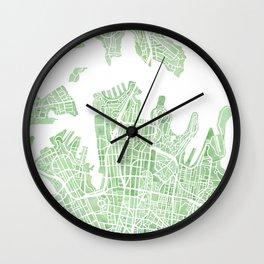 Sydney Australia watercolor city map Wall Clock