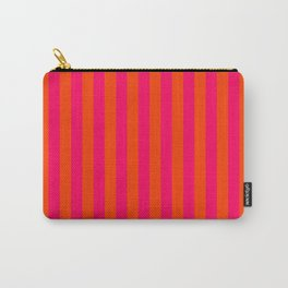 Orange Pop and Hot Neon Pink Vertical Stripes Carry-All Pouch