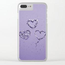 Ultra Violet LOVE Glitter Hearts #1 #shiny #decor #art #society6 Clear iPhone Case