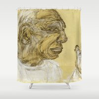 picasso Shower Curtains featuring picasso portrait by rAr : Art by Robyn Ashley Rosner