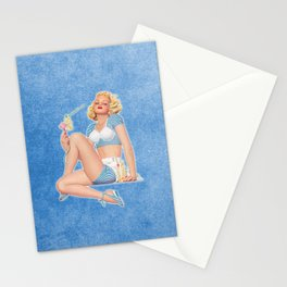 Art Deco Summer Breeze Pinup Girl Stationery Cards