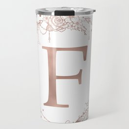 Letter F Rose Gold Pink Initial Monogram Travel Mug