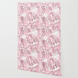 Abstract ethnic pattern in dusky pink, white colors. Wallpaper