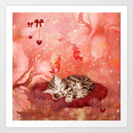 Cute little kitten Art Print