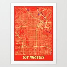Los Angeles - Califonia Retro City Map Art Print
