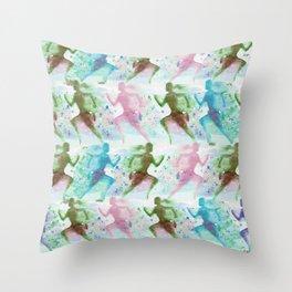 Watercolor women runner pattern Throw Pillow