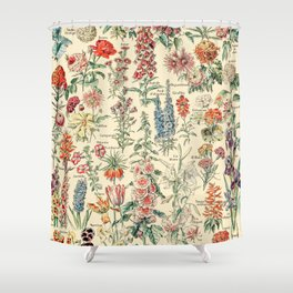 Vintage Floral Drawings // Fleurs by Adolphe Millot XL 19th Century Science Textbook Artwork Shower Curtain