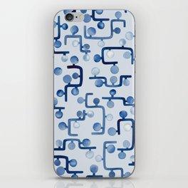 Blue Watercolour Zig Zag iPhone Skin