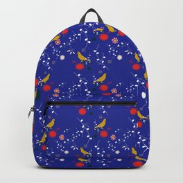 Bird and blossom electric blue Backpack