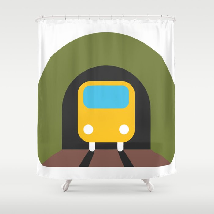 Underground Tunnel Train Emoji Shower Curtain