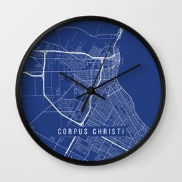 Corpus Christi Map, USA - Blue Wall Clock
