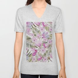 Tropical hand painted green magenta watercolor floral Unisex V-Neck