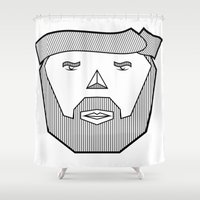 the dude Shower Curtains featuring Dude by Martin Heinemann