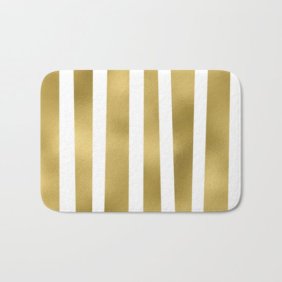 Gold unequal stripes on clear white - vertical pattern Bath Mat