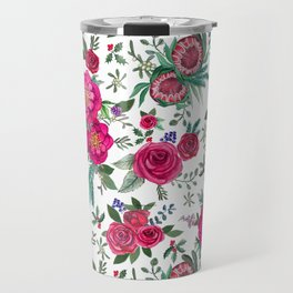 Protea, Pink Floral and berries Travel Mug