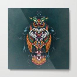 Wisdom Of The Owl King Metal Print