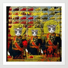 HOLY CATMEN WITH RED AND YELLOW Art Print