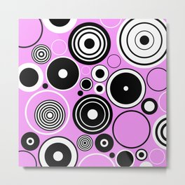 Geometric Black And White Circles On Pastel Pink Metal Print