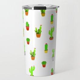 Cacti Pattern - White Travel Mug