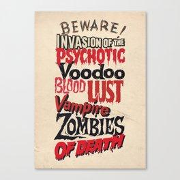 B Movie Beware Canvas Print