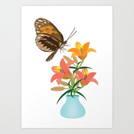 Butterfly and Lilies Art Print