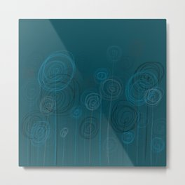 Field of Flowers Blue Metal Print