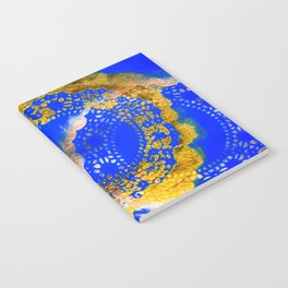 Royal Blue and Gold Abstract Lace Design Notebook