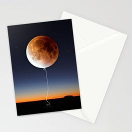 Red Balloon Moon Stationery Cards