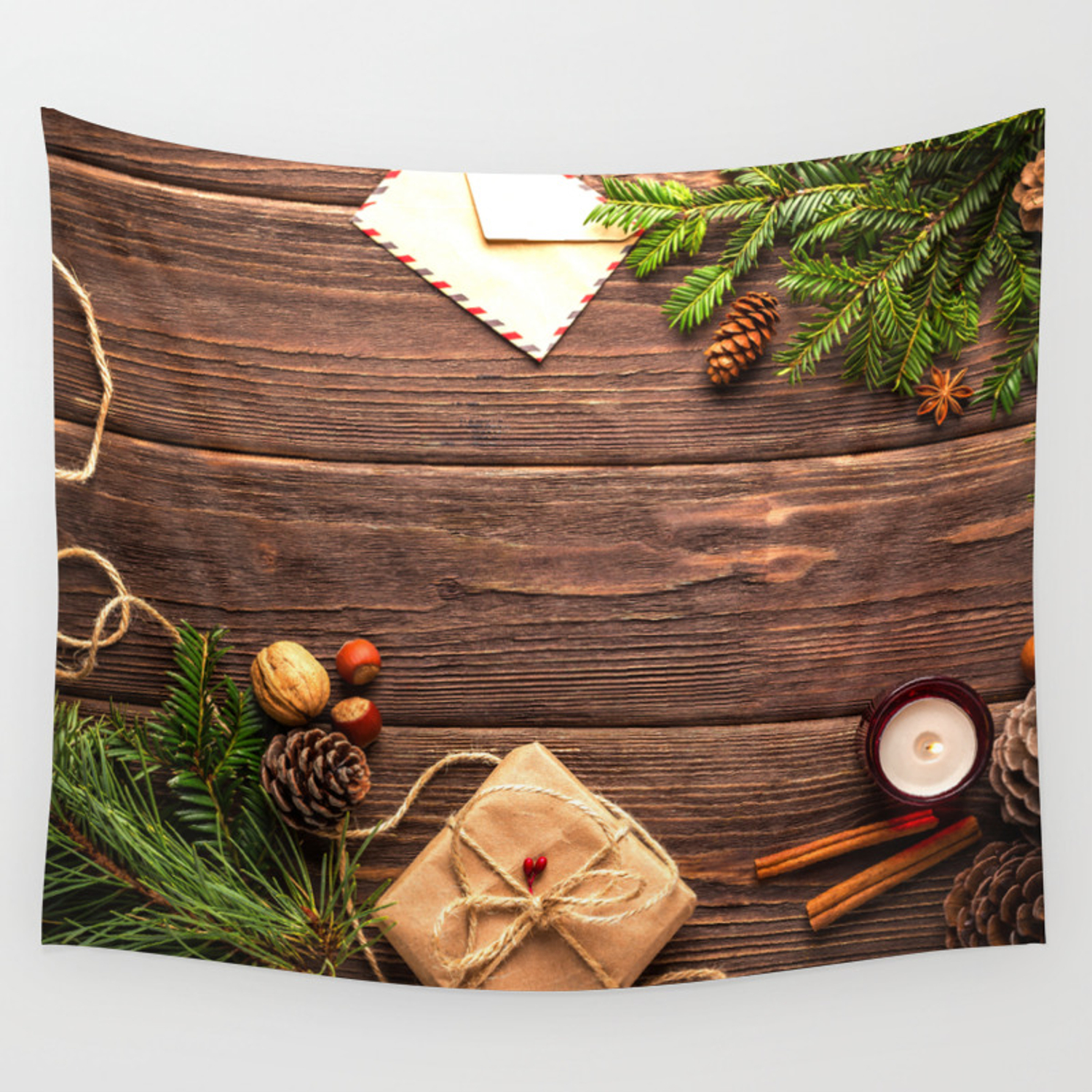 Christmas Holiday Rustic Decor Wooden Planks Wall Tapestry
