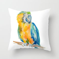Parrot watercolour painting Throw Pillow