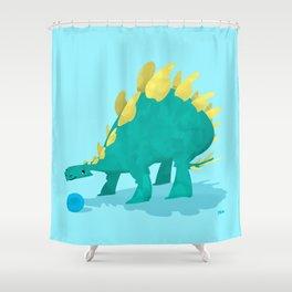 Stegosaurus and his Ball Shower Curtain