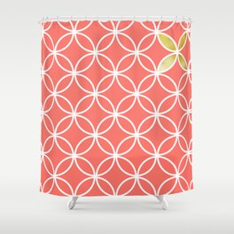 Living Coral retro pattern Shower Curtain