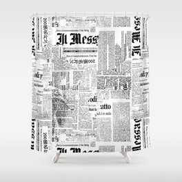 Black And White Collage Of Grunge Newspaper Fragments Shower Curtain