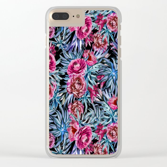 The floral pattern . pink and blue Clear iPhone Case
