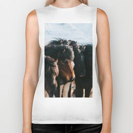 Horses in Iceland - Wildlife animals Biker Tank