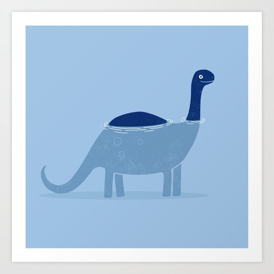 bathing dino Art Print