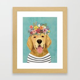 Golden Retriever Dog with Floral Crown Art Print – Funny Decoration Gift – Cute Room Decor – Poster Framed Art Print