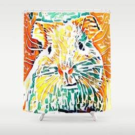 Hot painted Guinea Pig Shower Curtain