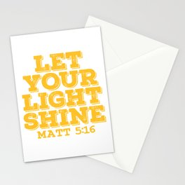 """A Shining Tee For A Wonderful You Saying """"Let Your Light Shine Matt 5:16"""" T-shirt Design Glowing Stationery Cards"""