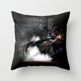 Vintage Steam Engine Black Locomotive Train Throw Pillow