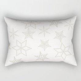 Beige Snowflakes on white background Rectangular Pillow