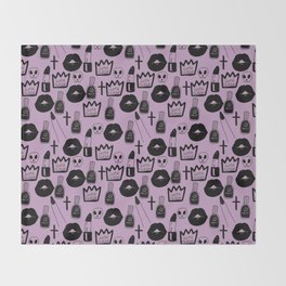 pastel goth queen purple Throw Blanket