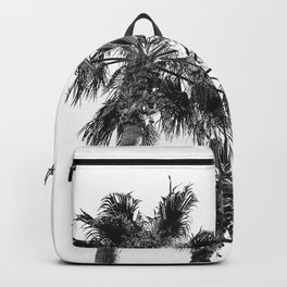 B&W Palm Tree Print | Black and White Summer Sky Beach Surfing Photography Art Backpack