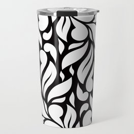 Abstract Leaves - Black and White Travel Mug