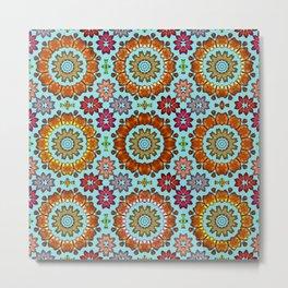 Tiled mandala flowers Metal Print