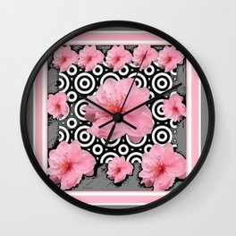 "Grey ""Art Deco"" Cherry Blossom Pattern Art Wall Clock"
