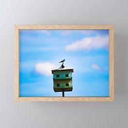 Blue Swallow on Birdhouse Framed Mini Art Print